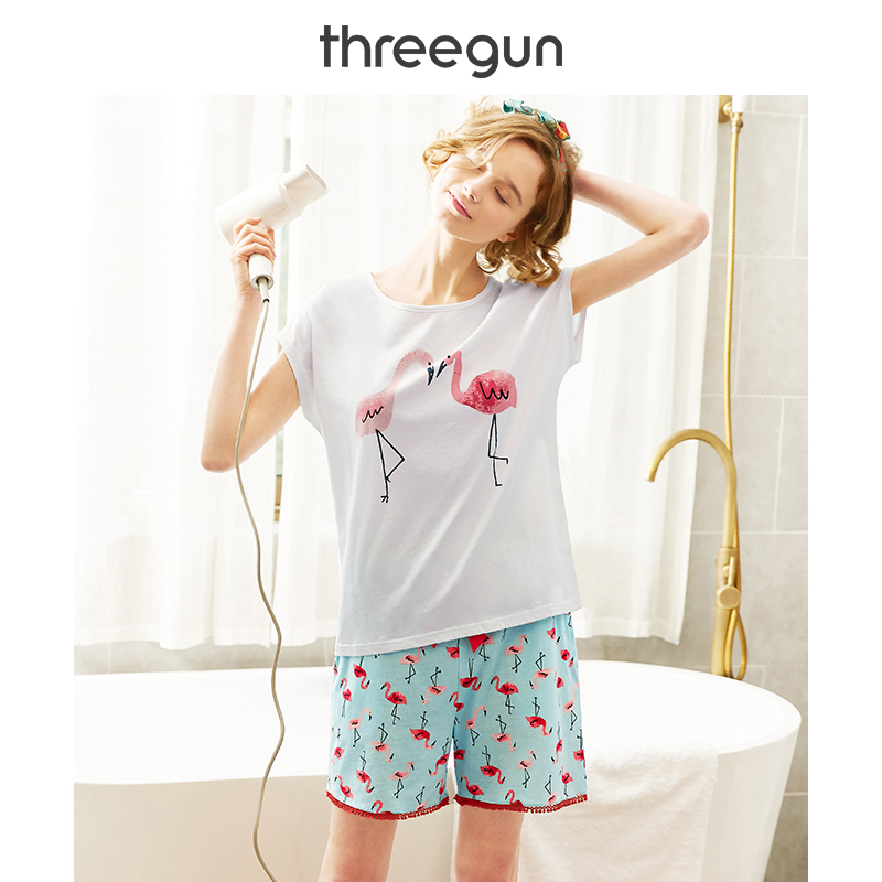 THREEGUN   Pajama     Set   Women Loose Pijama Cotton T Shirt & Short Suit Lounge Flamingo Pyjama Summer 2019 Top + Bottom Sleepwear