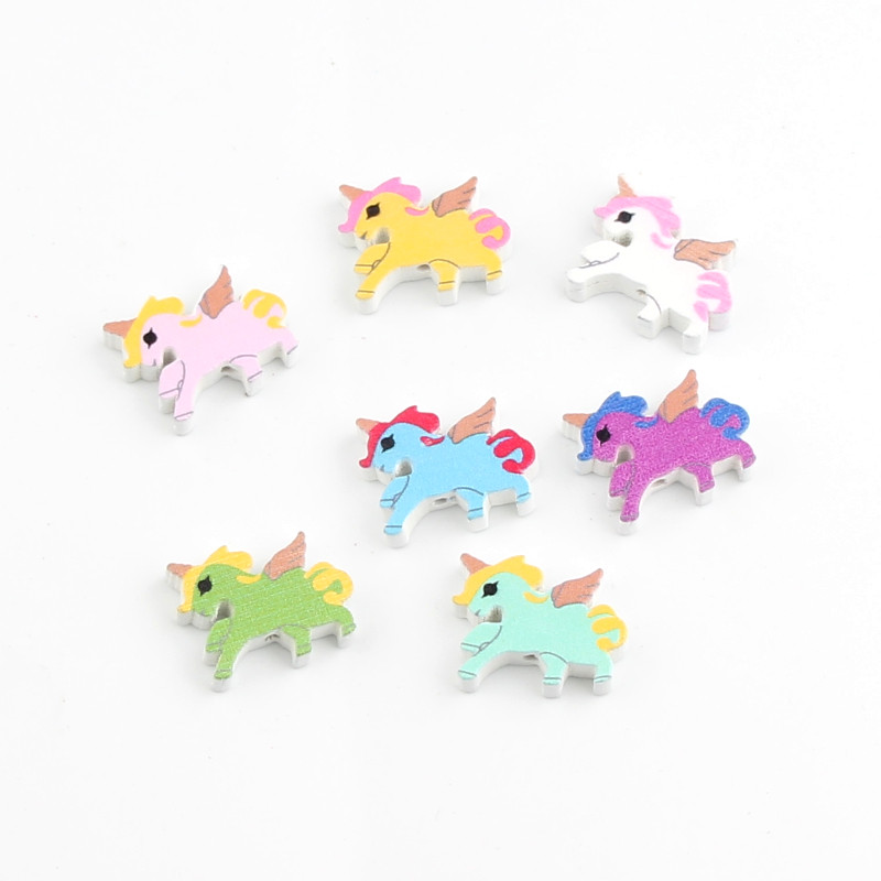 Diy Unicorn Shape Wood Beads 40pcs 22x17mm Multicolor Wooden Beads For Jewelry Making Handmade Baby Rattle Pacifier Clip With The Best Service