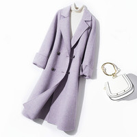 Expensive High end British Loose Buckle Handmade Double sided Cashmere Coat 2018 Long Coat Herringbone Pattern Wool Blends