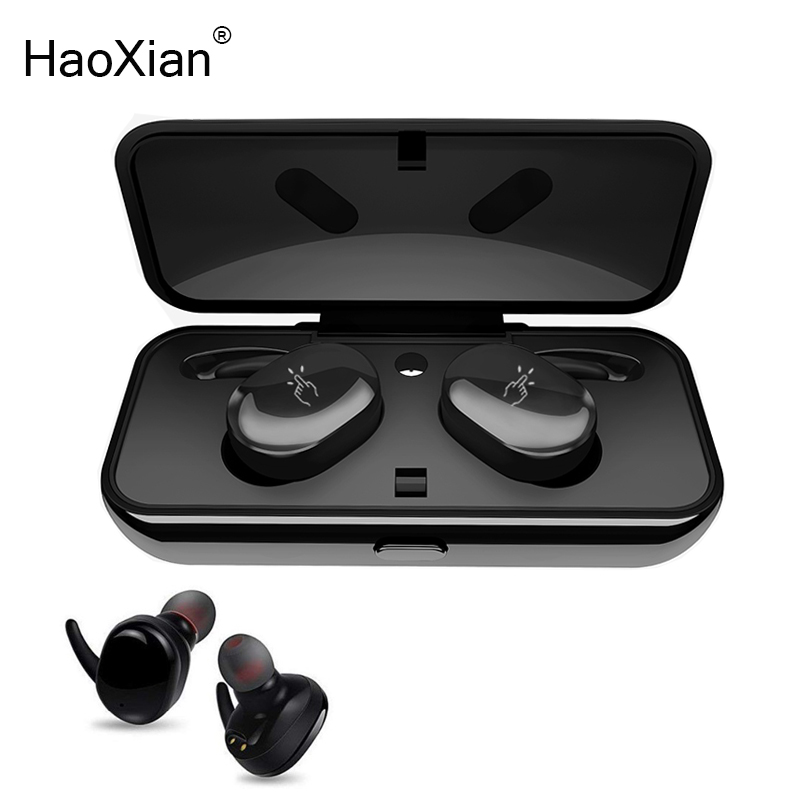 HaoXian Wireless Bluetooth Headphones Bass Stereo Earphone Waterproof Sports Headset With Charging Box for Xiaomi Android iPhone zomoea bass earphone earbuds running stereo sport bluetooth headset wireless headphones for iphone android with microphone