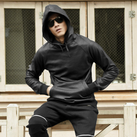 Men Autumn Winter Cotton Casual Hoodies Men Elastic High Quality Slim Leather Hat Black Hoodies Men
