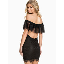 fa4ea87b Wonder beauty Sexy Women Lace Backless Mini Dress White Black Off the  Shoulder Short Sleeve Strapless Lace Ruffle Bodycon Dress
