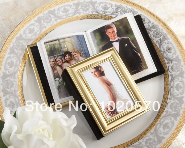 wedding favors of gold metal frame design photo album place card holders mini photo frame 100