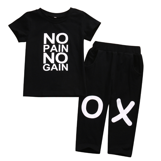 034e47b23c97 2018 Toddler Kids Baby Boys Short Sleeves Black XO Summer Casual ...