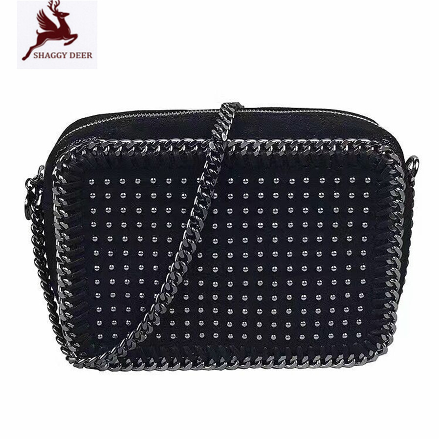 Shaggy Deer Brand PVC Faux Leather Rivets Small Flap Camera Chain Bag Luxury Black  Lady falabella Crossbody Shoulder Bag mini gray shaggy deer pvc quilted chain bag with cover real picture