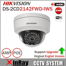 Original Updatable HIKVISION 4MP CCTV Camera DS-2CD2142FWD-IWS MINI WIFI Dome Camera Support Audio and Alarm I/O PoE IP Camera