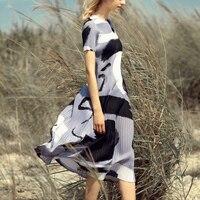 Fashion graffiti MIYAKE short sleeved printed frock dress cream pleated dresses free shipping