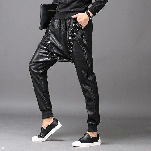 Men Fashion Joggers PU Faux Leather Harem Drop Crotch Pants Jeans Casual Street Dance Moto & Biker DJ Rock Rivets Slacks Trouser 4