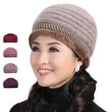 Волос кролика трикотажные женщин зимняя шапка шерсть среднего возраста матери cap оптовая женские шапки Меховые Шапки Леди Головные Уборы теплые Шапочки