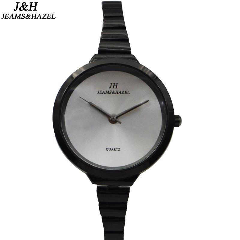Prix pour Marque En Acier inoxydable Robe mâle montres de luxe creative montre Bracelet Dames De Mode noir or Femmes Mince Ronde Montre-Bracelet JH