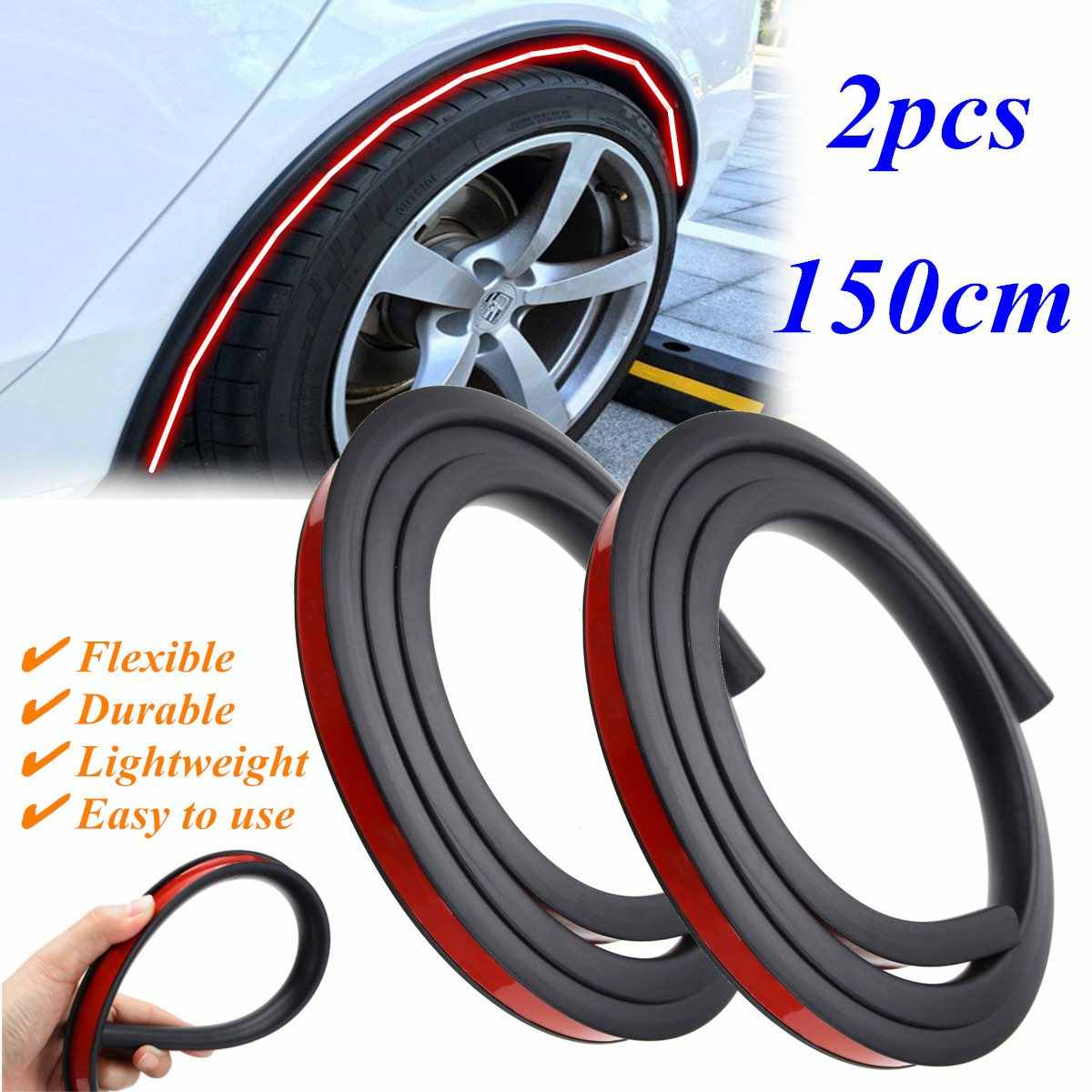 Queenbox 2pcs Car Wheel Eyebrow Arch Fender Flares Auto Mud Guard Protector Decorative Strips,Black