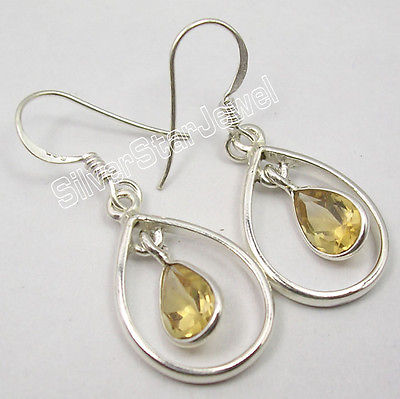 Chanti международных граненый желтый цитрины Серьги 3.6 см! Чистого серебра artisan современные ювелирные изделия