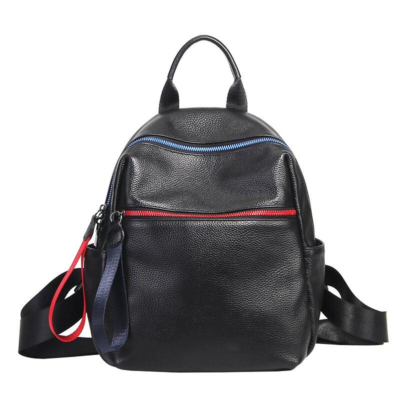 2019 marque Design sac à dos en cuir femmes doux véritable vache en cuir fille collège sac d'école Bookbag noir femme sac à dos grand-in Sacs à dos from Baggages et sacs    1