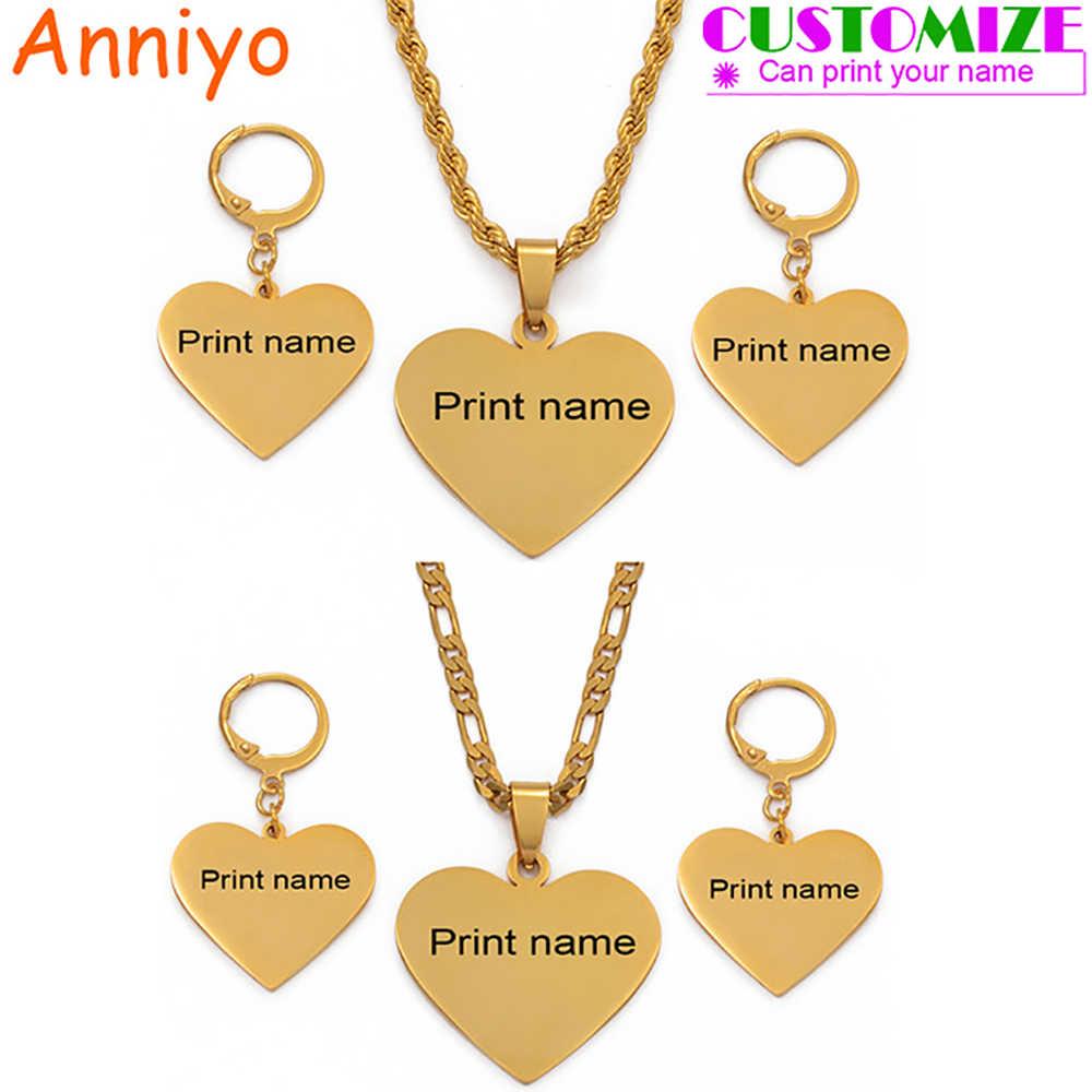 Anniyo Personalized Nama Liontin Hati Anting-Anting Rantai Kalung Chuuk Perhiasan Set Afrika Arab Menyesuaikan Ukiran Huruf 099121T