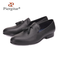 Piergitar Men Black Genuine Leather shoes with leather tassel British style men dress shoes Wedding and Banquet men loafers