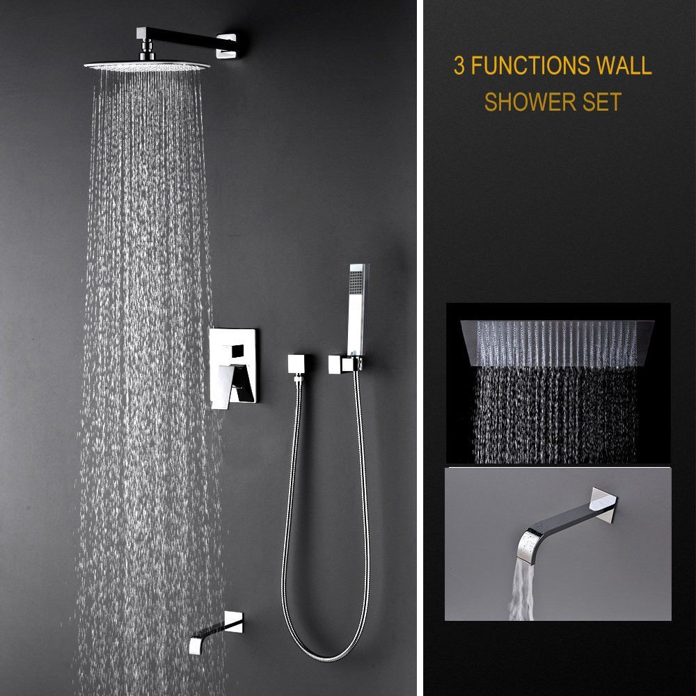 Luxury Rain Mixer Shower Combo Set Wall Mounted, 3 Way Shower System with Rainfall Shower Head, Handheld Shower Tub Spout Faucet 53203 bathroom rainfall wall mounted with handheld shower head faucet set mixer