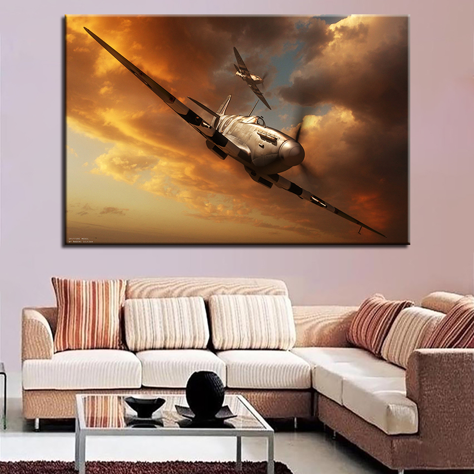 Pictures Painting Wall Art Modular Poster Home Decor 1 Panel Spitfire Dusk Landscape Frame HD Printed Modern Canvas Living Room