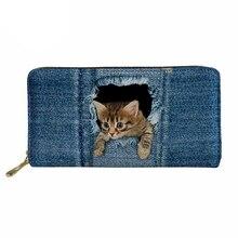 Noisydesigns portable Wallet 3D  Denim Jeans Cat Purse Coin Purses Holders for Girls Portable Wallets Women Pu Leather Money Bag