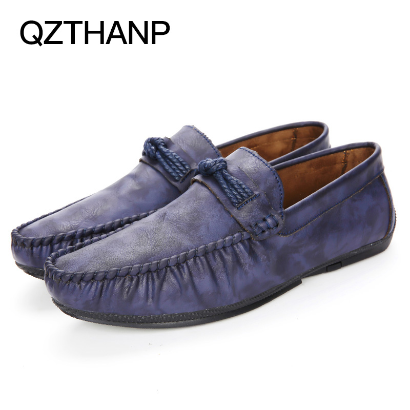 Casual Blue En brown Sur Mode Chaussures Appartements Pour De Sneaker Hommes Cuir Krasovki Pu D'été Slip Adultes Mocassins grey Fwdfq