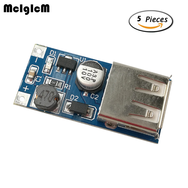 MCIGICM 5pcs DC-DC Boost Module Power Supply Module 0.9V ~ 5V to 5V 600MA USB Mobile Power Boost Circuit Board ...