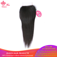 Queen Hair Products Brazilian Virgin Hair Straight Top Swiss Lace Closure Natural Color 10 to 20 100% Human Hair Free SHIPPING