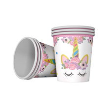 Unicorn theme Party Supplies Paper Cups Glass Happy Birthday Decoration 10pcs/lot