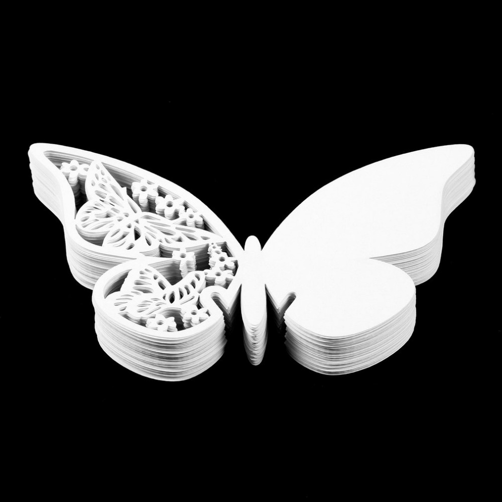 100pcs laser cut table name card place card wedding party decoration pearlescent paper butterfly drop shipping