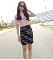 Embroidery Women S T Shirt Short Skirt Two Piece Suit Chiffon Relaxed Summer Short Sleeve Thin