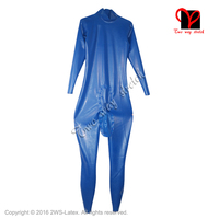 Blue Sexy Latex Jumpsuit With Cod piece with penis hole Unitard Zentai overall Latex Catsuit rubber romper size XXXL LT 069