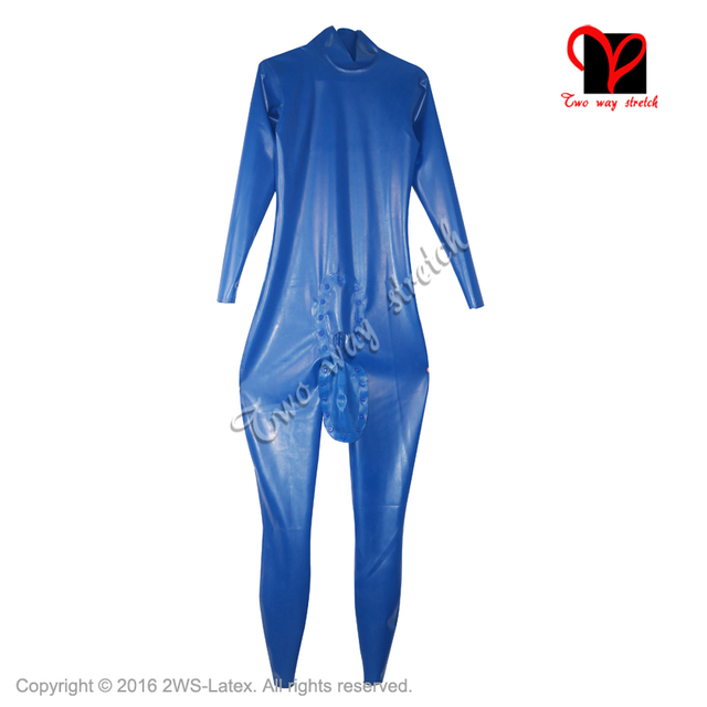 b153533660f991 Niebieski Sexy lateksowy kombinezon z dorsza kawałek z otworem na penisa  Unitard Zentai ogólnie lateks Catsuit