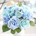 Dalias artificial flores rosas ramo de la boda de flores de seda otoño fake hoja vivid decoración de flores de la boda ramos de novia