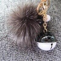 8CM Fox Fur Ball Pompom Key Chain Jingle Bell Keychain Keyring Fashion Women Men Bag Pendant Charms Accessories Lover Gift