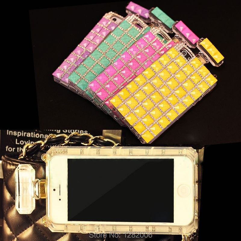 Luxury 3D Bling Colorful Diamond Crystal Perfume Bottle Chain TPU Handbag Cell phone Cases Cover iPhone 5 5S 4 4S Case - Fashion store