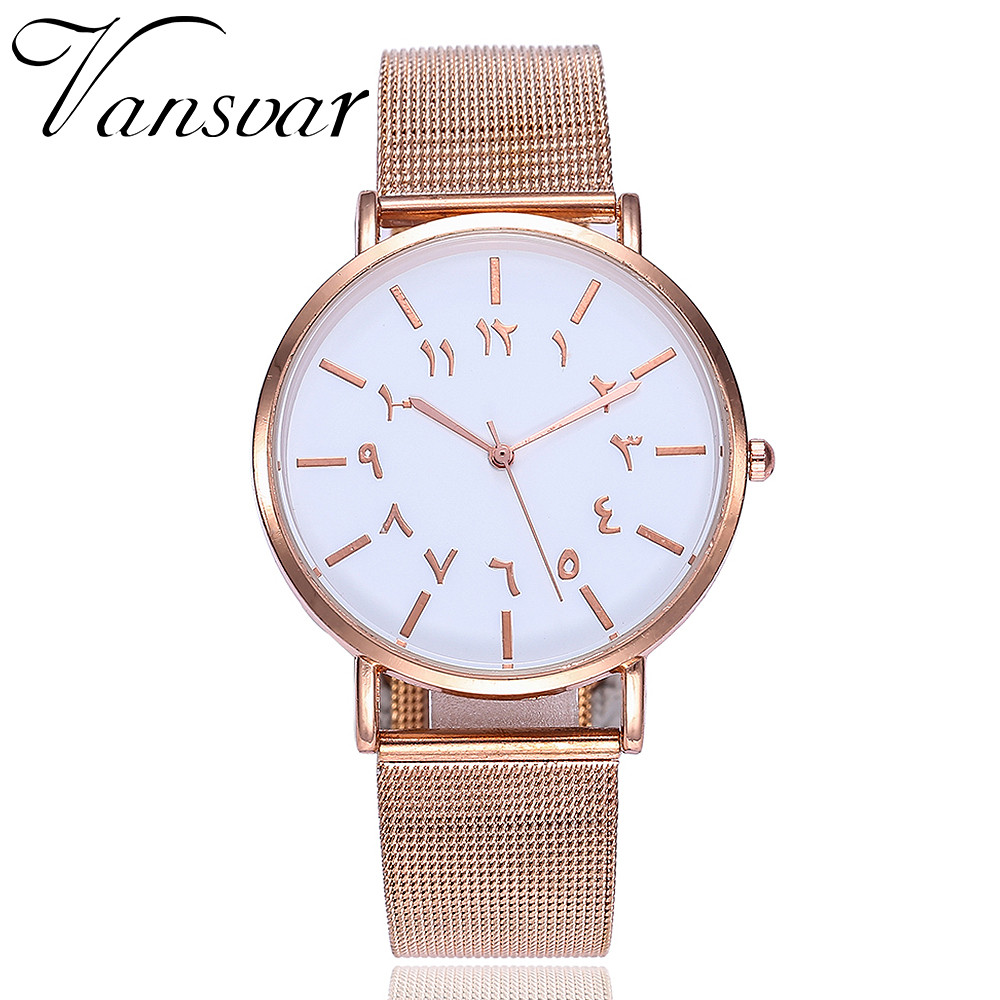 цена на Creative Arabic Numerals Ladies Watches Women Casual Stainless Steel Mesh Band Quartz Watch Montre Femme Relogio Feminino Clock