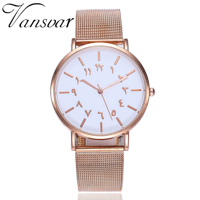 Creative Arabic Numerals Ladies Watches Women Casual Stainless Steel Mesh Band Q