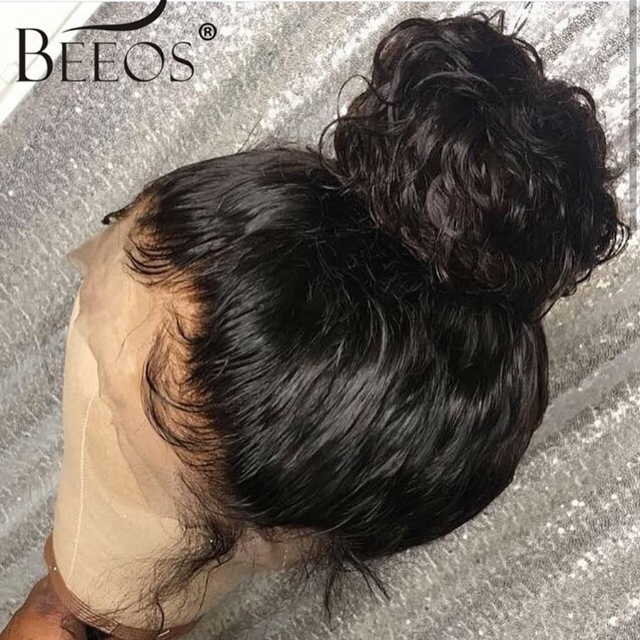 Beeos бразильские волосы Remy кудрявые 13*6 человеческие волосы на кружеве обесцвеченные парики вида шишка пучок глубокий распорный парик предварительно сорвал с волосами младенца для женщин - 5