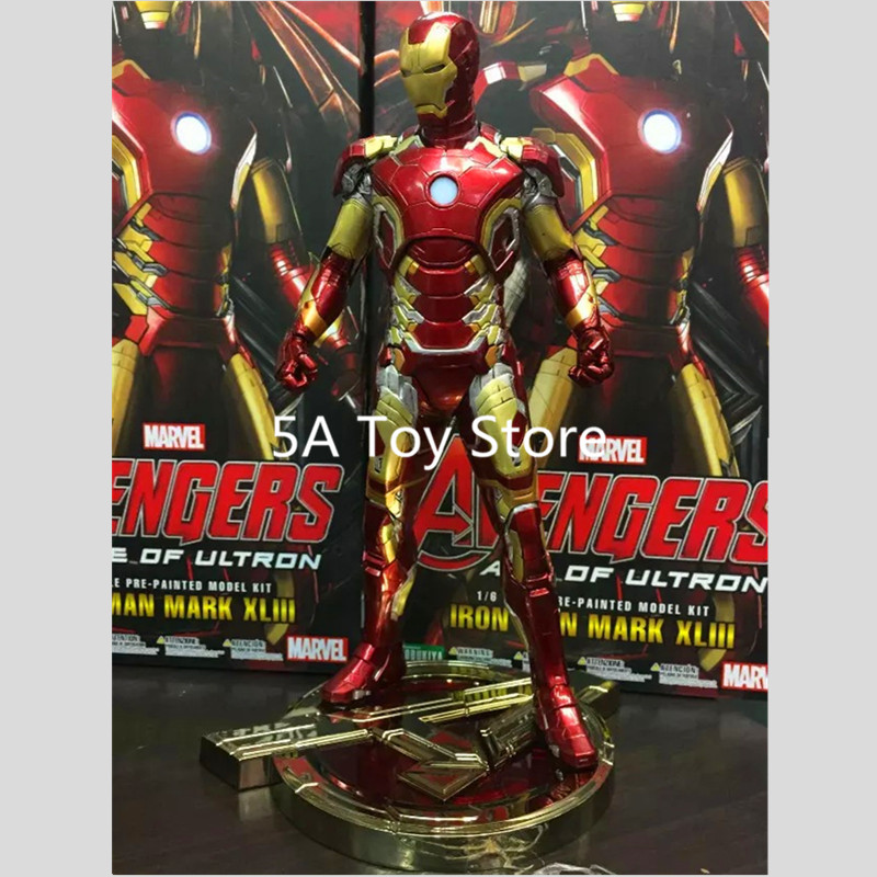 Avenger Iron Man Mark XLIII 43 1/6 Scale Pre-painted Model Kit with LED Light PVC Action Figure Collectible Model Toy 30cm new hot christmas gift 21inch 52cm bearbrick be rbrick fashion toy pvc action figure collectible model toy decoration