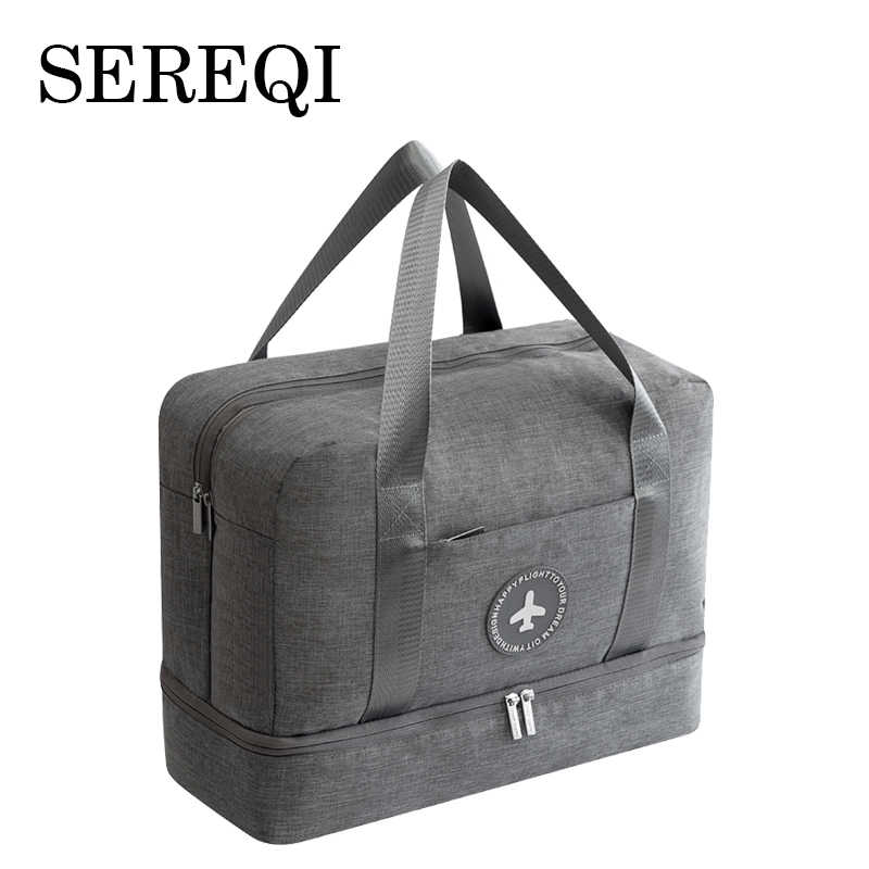 SEREQI Dry And Wet Separation Travel Bag Large Capacity Double Layer Beach Bag Fitness Bath bag Swimming bag  Travel accessories