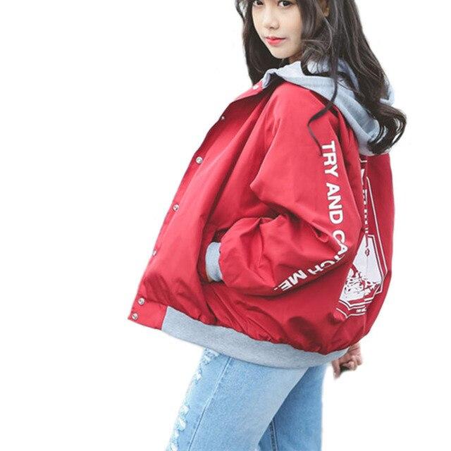 אביב סלעית צבא שחור אדום מעיל נשים לשחרר תלמיד BF מעיל Harajuku מעיל ענקי מעיל נשי jaqueta feminina