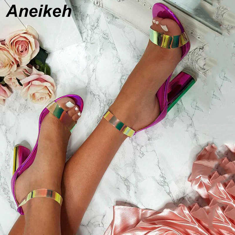 Aneikeh 2019 New Summer Ladies Sandals Fashion Sexy Color Ankle Strap Fish Mouth Open Toe With High Heel Sandals Size 4-9