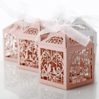 50PCS Party Wedding Favor Box Love Heart Laser Cut Candy Gift Boxes W Ribbon Hot Sale