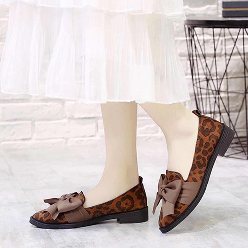 266137e98ff SAGACE Shoes Women Pointed Toe Flock Slip-On Shoes Leopard Print Jobs  Single Shoes Bow