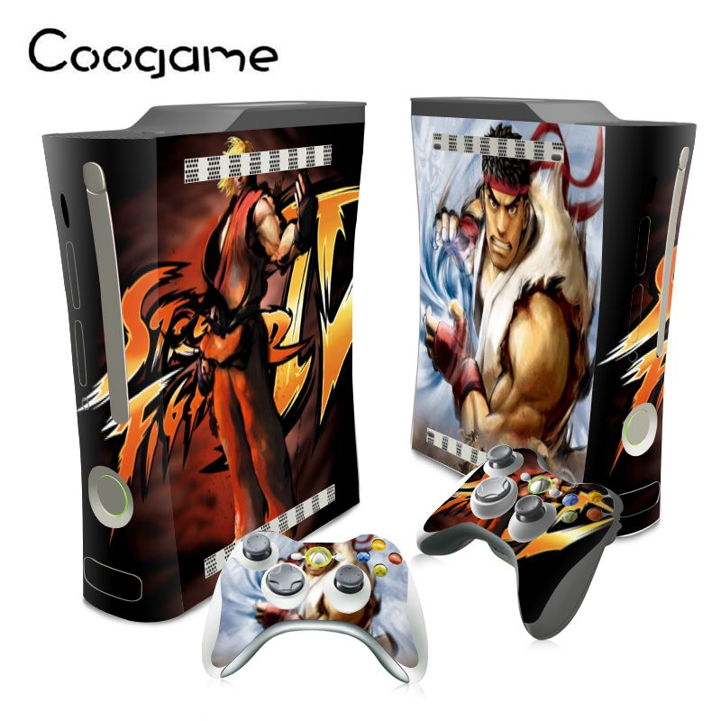 Street Fighter Sticker For Microsoft Xbox 360 Fat Console PVC Skin & 2 Pads For Xbox360 Fat Decal