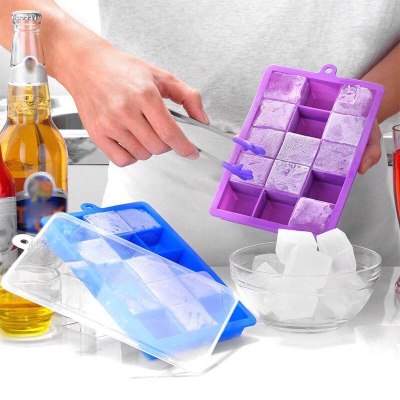 15 Löcher Silikon Ice Cube Mold Fach Diy Gelee Formen Quadratische Form Ice Tray Trinken Zubehör Tb Verkauf