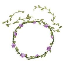 Леди Boho Цветочный Фестиваль цветов Свадебный Венок Лоб Глава Волос Группа светло-фиолетовый