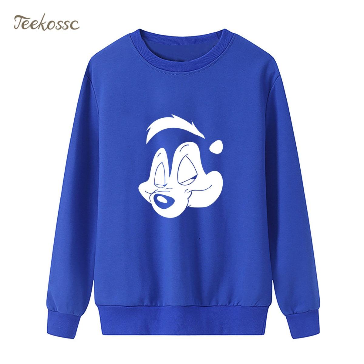 Anime Pepe Le Pew Sweatshirt Funny Print Hoodie 2018 New Brand Winter Autumn Women Lasdies Pullover Fleece Warm Loose Streetwear