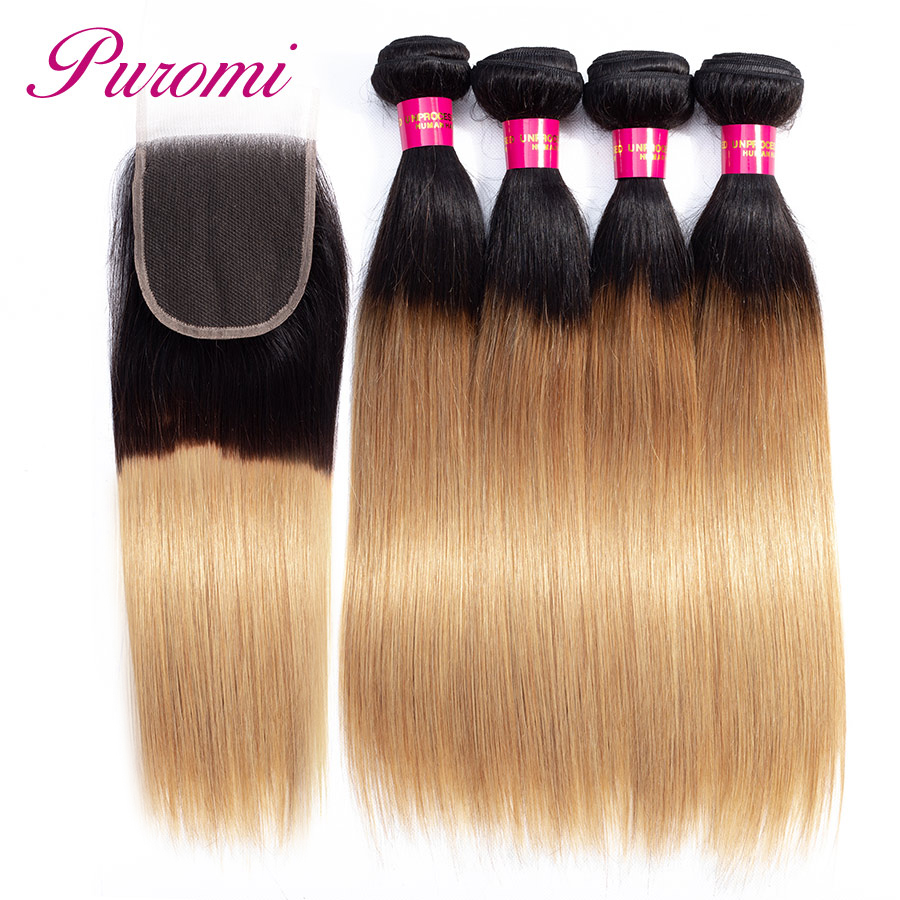 Puromi Hair Honey Blonde Bundles with Closure 1b 27 Non Remy 4 Bundles with Closure Straight Indian Hair Bundles with Closure