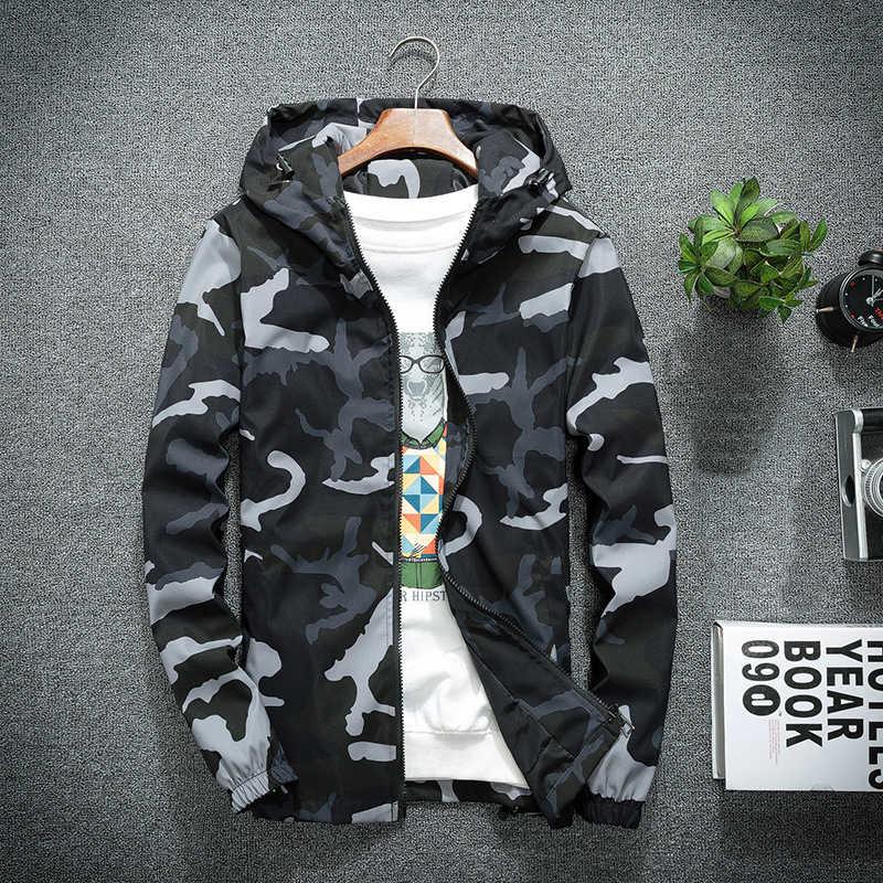 Mountainskin degli uomini Nuovo Giubbotti Primavera Autunno Casual Cappotti Giacca Con Cappuccio Camouflage Outwear Moda Maschile Marchio di Abbigliamento 5XL SA637