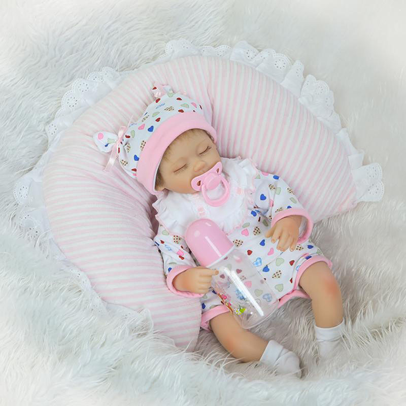 ФОТО Realistic Sleeping Reborn Dolls 17 inch Soft Silicone Born Babies Close Eyes Model Doll With Free Pacifier NPK COLLECTION Gifts