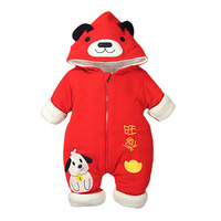 Baby jumpsuit red and thick Chinese New Year clothes baby Christmas winter clothes cotton